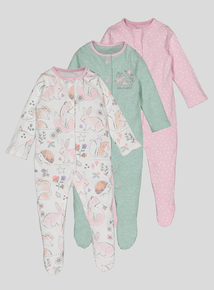 Multicoloured Winter Animal Sleepsuits 3 Pack (0 - 24 Months)