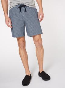 Blue Mini Gingham Print Pyjama Shorts