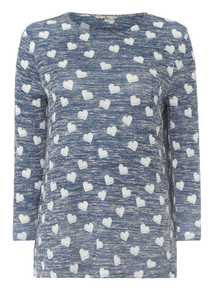 Navy Heart Patterned Top