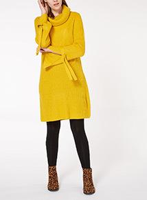 Yellow Cowl Neck Tie-Sleeve Dress
