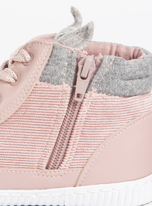 Pink Cord Bunny Eared High Top Shoes (Infant 4-12)