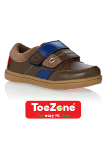 Boys Brown Leather ToeZone Shoes