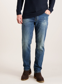 Sandwash Blue Denim Slim Leg Jeans
