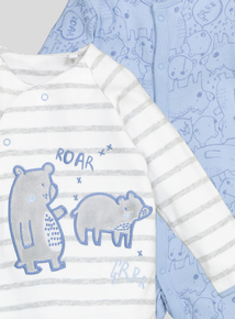 Blue and White Bear Detail Sleepsuits 2 Pack (Newborn-24 months)