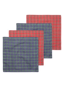 Red Four Pack Tartan Handkerchief
