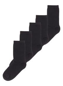5 Pack Black Plain Socks