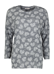 Navy Heart Print Knit-Look Top