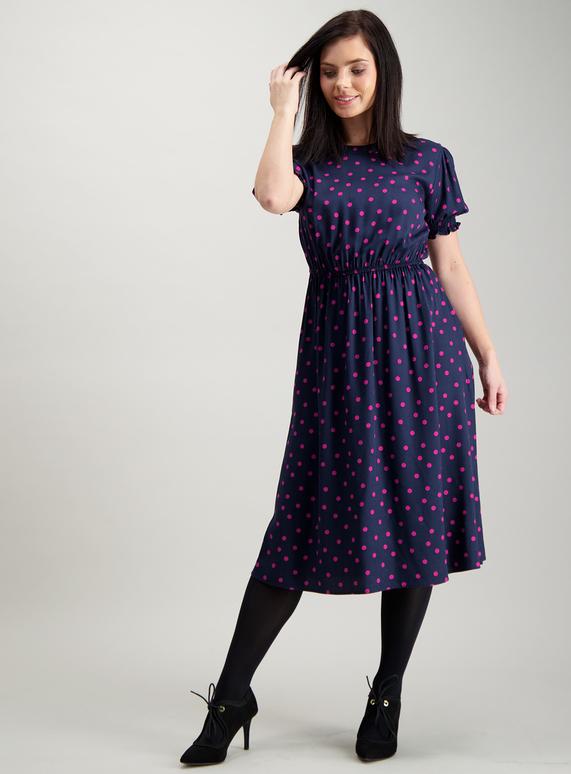 3912b6b5486 Womens PETITE Navy Blue   Pink Spot Midi Dress