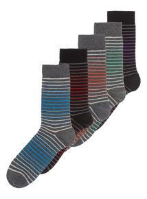 Multicoloured Ombre Stripe Socks 5 Pack