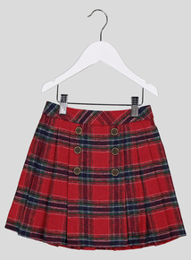 Red Check Pleated Skirt (3 - 14 years)