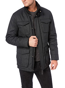 Black Cotton Coated Jacket