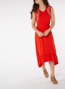 Red Embroidered Midi Dress