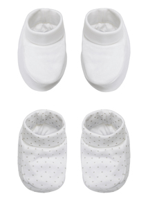 Unisex White Booties 2 Pack (0-12 months)