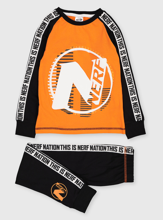 Nerf Black & Orange Pyjamas (8-9 Years) £6 @ Tu Clothing