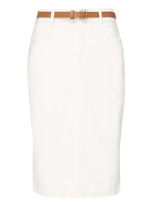 Cream Belted Pencil Skirt