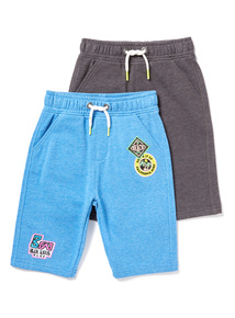 2 Pack Multicoloured Badged Jersey Short (3-14 years)