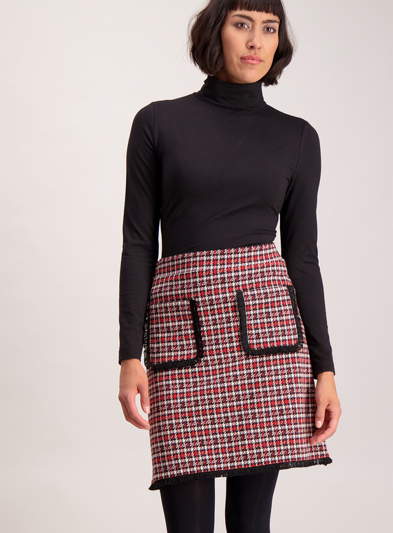 Red and Black Lurex Dogtooth Mini Skirt