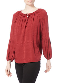 Red Jacquard Top