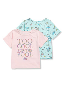2 Pack Multicoloured Dolphin T-Shirts (3-14 years)