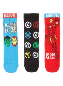 Multicoloured Marvel Avengers Socks 3 Pack