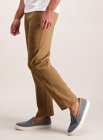 Stone Straight Leg Cotton Twill Jeans With Stretch