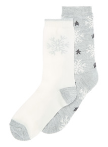 2 Pack Thermal Snowflake Socks