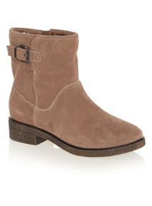 Beige Lined Suede Ankle Boots