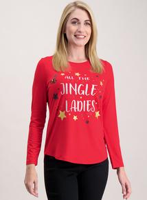 Red Christmas Slogan Long-Sleeved Top