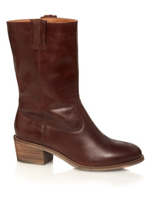 Leather Slouch Calf Boots
