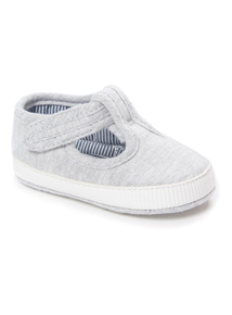 Grey T-Bar Shoes (0 - 18 months)