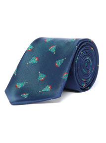 Navy Christmas Tree Tie