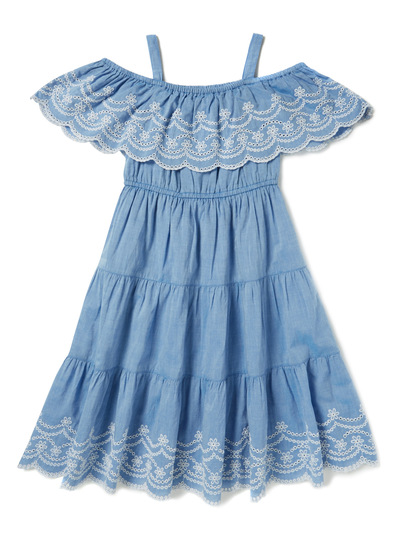 Blue Tiered Cold Shoulder Maxi Dress (3-14 years)