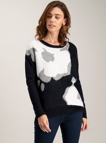 Navy Abstract Floral Jumper