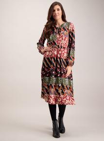 Black Folk Patchwork Tea Dress