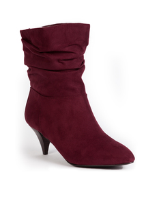 Burgundy Cone Heel Ruched Ankle Boots