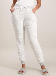 Grey Cloud Print Fluffy Pyjama Bottoms