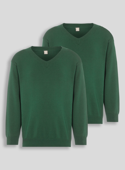 Green V-Neck Jumpers 2 Pack (3-12 years)