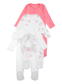 3 Pack Pink Fairy Sleepsuit (0-24 months)