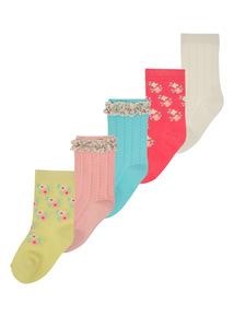 Multicoloured Lace Trim Socks 5 Pack