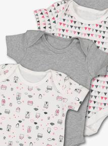 Multicoloured Houses Print Bodysuits 5 Pack (Newborn - 3 years)