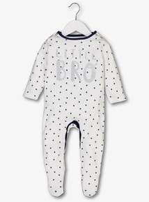 Online Exclusive White 'Little Bro' Sleepsuit (Newborn-24 Months)