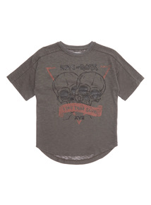 Charcoal Short Sleeve Rock Skull Tee (3-14 years)
