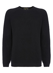 Admiral Black Textured Crew Neck Jumper