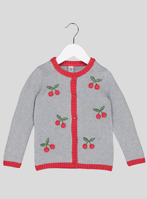 Grey Cherry Embellished Cardigan (9 months - 6 years)