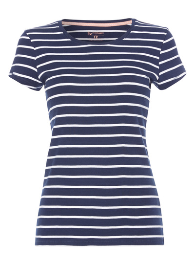 Navy Short Sleeve Stripe Crew Tee