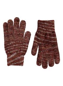 Multicoloured Striped Chenille Gloves