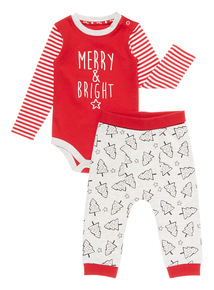 Red Christmas Bodysuit and Jogger Set (0-24 months)