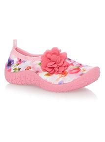 Girls Pink Floral Aqua Sandal