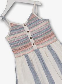 Multicoloured Strappy Woven Stripe Dress (3-14 Years)