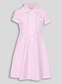 Girls Pink Classic Gingham Dress (3 - 12 years)